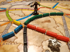 Ticket to Ride Train Components and Board